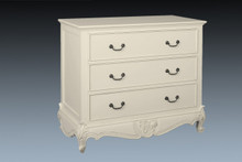 French Carved 3 Drawer Chest, Chateau White