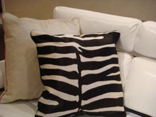 Leather Throw Pillow, Zebra Print,Color Black & White 22 x 22