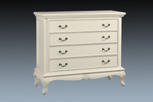 French Country 4 Drawer Chest, Antique White