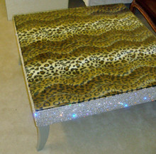 Belgravia Coffee Table,Cheetah Print Faux Fur