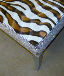 Belgravia Coffee Table, Zebra Print Faux Fur Fabric