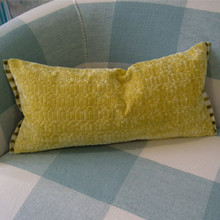 Velvet Textured Throw Pillow, Lemongrass