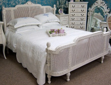 French Country Rattan Bed, Slightly Distressed White
