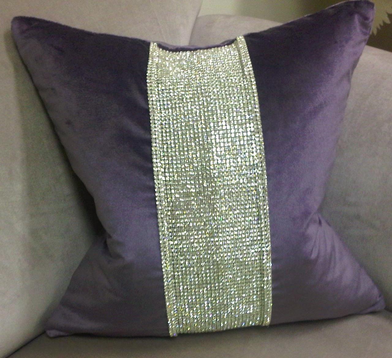 Luxury Throw Pillow, Purple Diamante Bling throw pillow