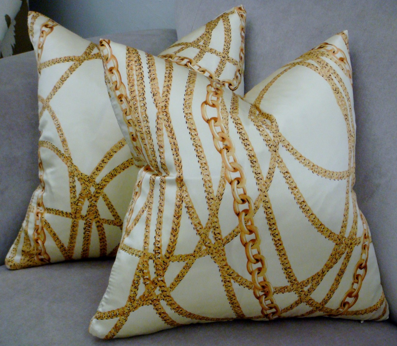 Designer Corture Throw Pillows Chanel Chain Style