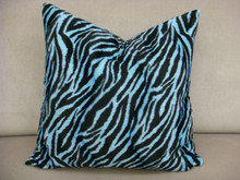 Zebra Print Throw Pillow, Blue & Black Multi