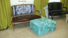 Modern Ottoman, Blue Lacquered Ottoman