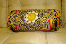 Bolster Pillow, Baroque Bolster.....Fabric Designed by Gianni Versace