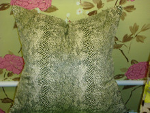 Snakeskin Throw Pillow Cover, Color Green & White Velvet