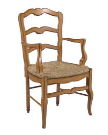 Ladderback Armchair $1199.99 Height: 38″ x Width: 22″ x Depth: 21″ COM: 1.5 yards Finish Shown: Antique Pickled Pine (Available in any LJS finish)