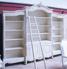 Bookcase, French Carved Bookcase Display with ladder