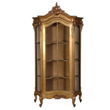 French Carved Display Cabinet, Gold Leaf