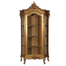French Carved Display Cabinet, Gold Leaf