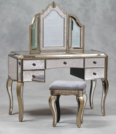 Vanity Table Set, Mirrored dressing table, mirror and stool