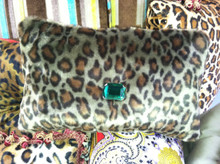 Leopard Bling Throw Pillow, Green & Brown 15 x 10 with Green faux crystal