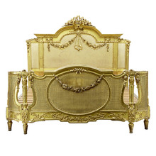 Louis XVI Rattan Bed, Gold Leaf