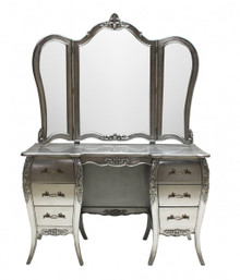 French Chateau Silver Dressing Table, Silver Leaf finish