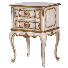 Marie Antoinette Side Table, Antique White & Gold