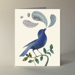 Boxed set of 10 note cards with envelopes. Watercolor and collage illustration by Peter Good. A2 (4.25″ × 5.5″).  Quote on inside left:  Life is good only when it is magical and musical... You must hear the bird's song without attempting to render it into nounds and verbs.  Ralph Waldo Emerson