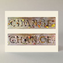 Boxed set of 10 note cards with envelopes. A2 (4.25″ × 5.5″). Graphic by Peter Good.  Quotes on inside:  Embrace change.  Change just one letter and Change becomes Chance. Jan Cummings Good  Change is occurring now. By the time you finish reading this thought, you will be slightly different. Your consciousness will be altered in that if you read it a second time the words will be incrementally more familiar. Try three times; to experience the nature of change. Peter Good