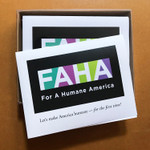 "FAHA ""For A Humane America"" — Make America Humane for the First Time!  Box of ten A-2 sized cards with envelopes. Designed and printed in our home studio."