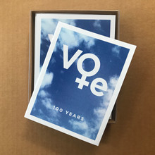 Celebrating the Centennial of Women Voting Box of ten A-2 sized cards with envelopes. Designed and printed in our home studio.