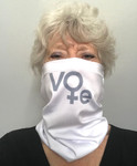 Jan has customized this neck gaitor for anyone with hearing aids or who dislikes ear straps. A single elastic strap wrapped over the top of your head secures it in place.