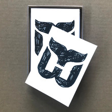 Set of 10 boxed A-2 size note cards. Designed and printed in our home studio.  Featuring a 2016 sketch of the Whalers logo which was created by Peter Good in 1979.