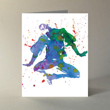 """Box of 10 A-2 size note cards, featuring a Peter Good watercolor illustration. Designed and printed in our home studio.  Inside message reads """"Life is the dancer and you are the dance."""" Eckhart Tolle"""