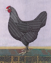 "Epson archival print of fabric appliqué chicken by Peter Good. Special 2021 edition  16"" x 20""  Unframed"