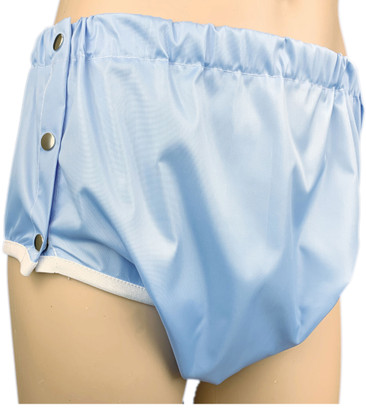 Blue Side Fastening Snap On Crinkle Bum Incontinence Pants