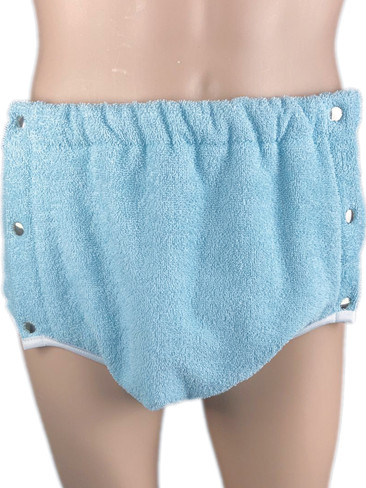 DryDayz Side Fastening Baby Blue Terry Towelling Adult Incontinence Brief Pants Single Thickness ABDL Washable Nappy Nappies Diaper