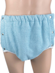 DryDayz Side Fastening Terry Towelling Adult Brief Double Thickness Baby Blue