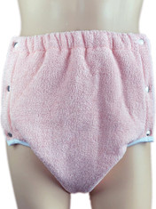 DryDayz Side Fastening Terry Towelling Adult Brief Double Thickness Baby Pink