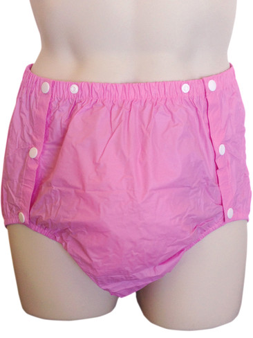 DryDayz Pink side snap plastic pants for adults
