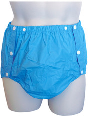 DryDayz blue side snap plastic pants for adults