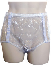 DryDayz clear side snap plastic pants for adult incontinence