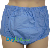 Blue pull up plastic pants for adults