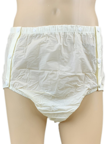 Lemon Yellow Plastic Side Fastening Snap On Pants for adult incontinence pvc panties for sale uk europe - DryDayz.com