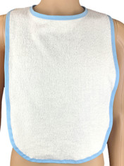 Blue Adult Sized Feeding Bib With White Blue or Pink Edging Extra Large ABDL