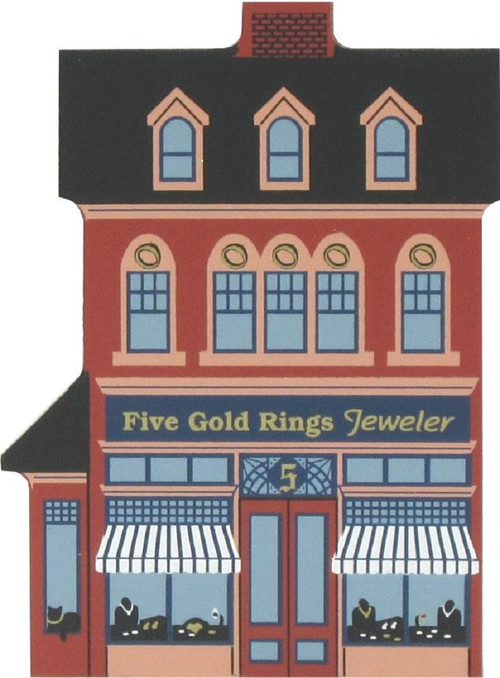 Cat's Meow Village Wooden Shelf Sitter Keepsake - 12 Days Christmas 5 Gold Rings