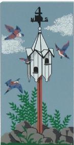 Cat's Meow Village Wooden Shelf Sitter Keepsake - 12 Days Christmas 4 Calling Birds