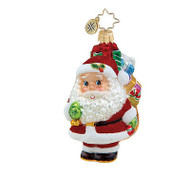 Christopher Radko Hand Blow Glass Painted Wee Jolly Gent Santa #1015628 NEW Box