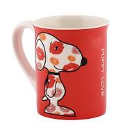 DEPT 56 Valentine's PEANUTS Snoopy Puppy LOVE Bright Ceramic Mug #4040298 NIB