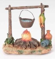 "ROMAN FONTANINI Nativity 3.75 LED Campfire with Pot 5"" Scale Assessory 59532 NEW"