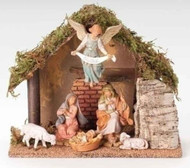 "ROMAN FONTANINI Nativity 6PC 5"" Figure Set w/Italian Stable #54485 NEW in BOX"