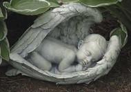 "7"" Sleeping Baby in Wings Garden Figure/Statue"