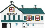 Cat's Meow Village Wooden Shelf Sitter Keepsake - Ohio Star Quilt Barn Block 16-512