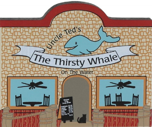 Cat's Meow Village Wooden Keepsake Shelf Sitter  Whimsical Uncle Ted's Thirsty Whale Restaurant #01-611