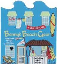 Cat's Meow Village Wooden Shelf Sitter Keepsake Whimsical Benny's Beach Gear Shop #01-614
